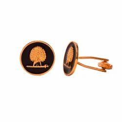 Mayo College Gold Plated Mayoor Cufflinks With Black Enamel (Flat Base)