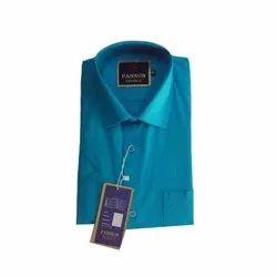 Pansun Blue Men Casual Plain Cotton Shirt