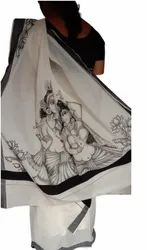 Printed Casual Wear FIRST LETTER MURAL PAINTING SAREE, Without blouse piece