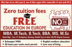 Free Education In Europe, Zero Tuition Fees MBA, MSC, B.Tech, Hotel Management, Bba