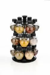 New 360 Degree Revolving Round Shape Transparent Spice Rack, 24 Piece Spice Set