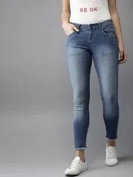 Curvature Skinny Ladies Ankle Length Stretchable Jeans, Waist Size: 28 - 36