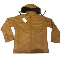 Full Sleeve Casual Wear Men Brown Plain Leather Jacket