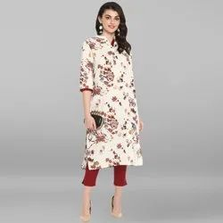 Janasya Women's Cream Cotton Flex Kurta (JNE3543)