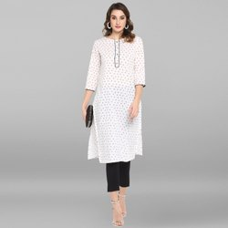 Janasya Women's White Pure Cotton Kurta(JNE3436)