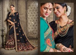 Border Embroidery Black Designer Dupiyan Silk Embroidered Saree, With Blouse Piece