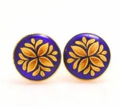 Cufflinks With Hand Painted Royal Motif On Royal Blue Enamel In .925 Silver