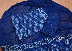 Blue Cotton Unstitched Women Suit With Chiffon Dupatta
