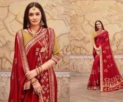 SHENJ Zari Vichitra With Swarovski Work And Banarsi Fabric, Dry clean