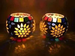 Yellow Indian Glass Tealight Votive Holder Glass Candle Holder
