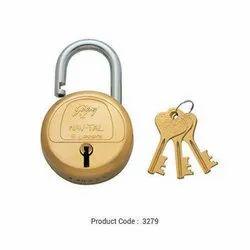 With Key Godrej 3279 Navtal Six Lever Brass Padlock