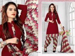 Yashoda Sarees Brown Patiyala Cotton Material