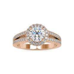 White Yellow Rose Gold Round Cut Full White Moissanite Halo Ring With Accents For Engagement Wedding