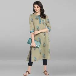 Janasya Women's Green Pure Cotton Kurta(JNE3544)