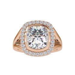 Cushion Cut 6 Carats Full White Moissanite Gold Halo Ring For Engagement Wedding
