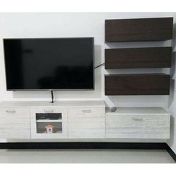 White,Brown Teak Wood Wall Mounted Wooden TV Unit, For Home,Hotel