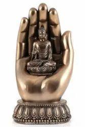 Copper Finish Buddha Statue In Hand God Idol Religious