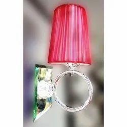 Jhoomarwala Metal, Fabric Cherry Color Wall Lamp