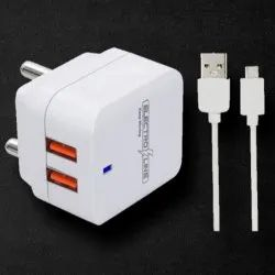 1 Meter White Electroline 2.1 A Mobile USB Charger