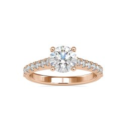 DEF Round Cut Full White Moissanite Channel Set Solitaire Ring White,Yellow,Rose Gold For Engagement