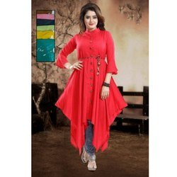 Red Ladies Georgette Long Top