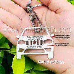Maruti S-Cross Car Custom Keychain Car Name Number Personalized Custom Keychain