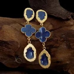 Gold Plated Blue Gemstone Lv Earring Flower Design Earring Long Earring