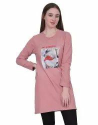 Wool Pink Women Western Long Sleeved T-shirt