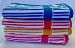 Non Printed Multicolor Yarn Dyed Velvet Striped Bath Terry Towel, 450-550 GSM, Size: 70 X 135 Cms