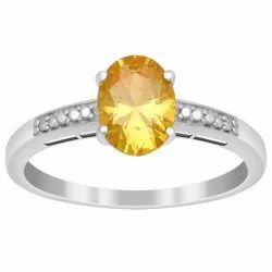 Solitaire Cut 1.50 Ctw Yellow Zircon 925 Sterling Silver Delicate Women Ring