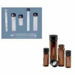 Cylindrical Glass Culture Tubes With PP Cap And PTFE Liner, Flat / Round Bottom, For Chemical Laboratory, Capacity: 5 - 150ml
