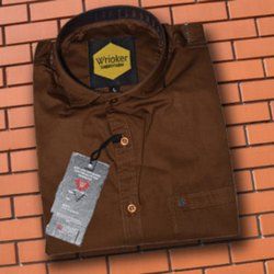 Wrioker Full Sleeves Men Brown Cotton Plain Shirt