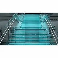 Transparent Toughened Safety Glass Stair, For Home, Thickness: 12 Mm