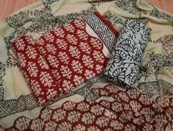 Red And Black Cotton Printed Suits