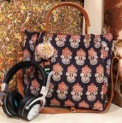 Sheenaz Hand Handled Ladies Ikkat Handbag, 400 Grms, Size: 13