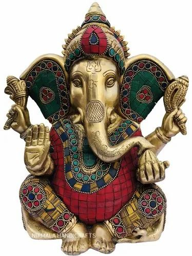 Brass Stone Work Ganesha Statue God Idol Figurine