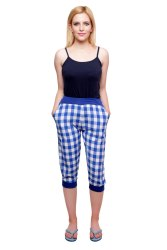 Cotton Blue Woven Checked Womens Capri, Size: XL and XXL