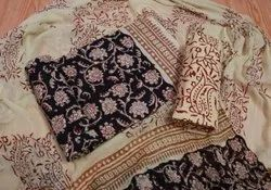 Printed Cotton  Suits With Chiffon Dupatta