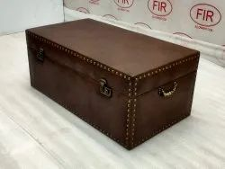 Leather Vintage Storage Trunk Suitcase Coffee Center Table