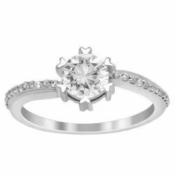 Solitaire Accents 0.97 Ctw White Cubic Zircon 925 Sterling Silver Women Ring