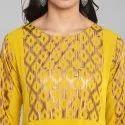 Janasya Women''s Yellow Poly Crepe Kurta(JNE3294)
