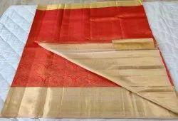 Gold & Maroon Color silk Saree