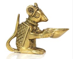 Nirmala Handicrafts Brass Mouse Diya Stand Gold Finish Temple Use And Gift Item
