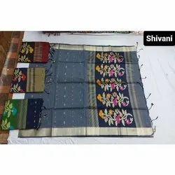 Party Wear Designer Embroidery Cotton Saree, 6.3 m (with blouse piece)