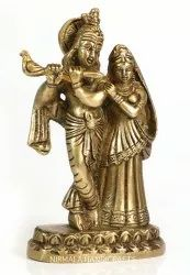 Brass Radha Krishna Statue Figurine Gold Finish Statue Antique Plain Work Indian God Idol Figurine