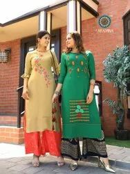 Fashion Girl Vol -2 Heavy Rayon With Embroidery And Manual Work Traditional Kurtis With Plazzo