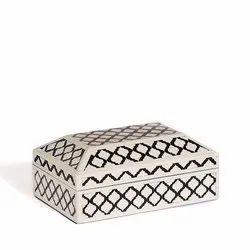 Black Bone Inlay Jewellery Box- Morrocon Pattern