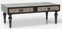 Indian Style Black Bone Inlay Designer Coffee Table, Size: 48*24*16 Centimetre