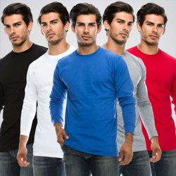 Male Cotton Full Sleeve Promotional T Shirt, Round Neck, Size: S To 2xl