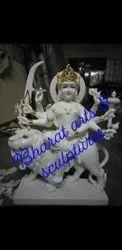 3 Feet White Marble Durga Statue